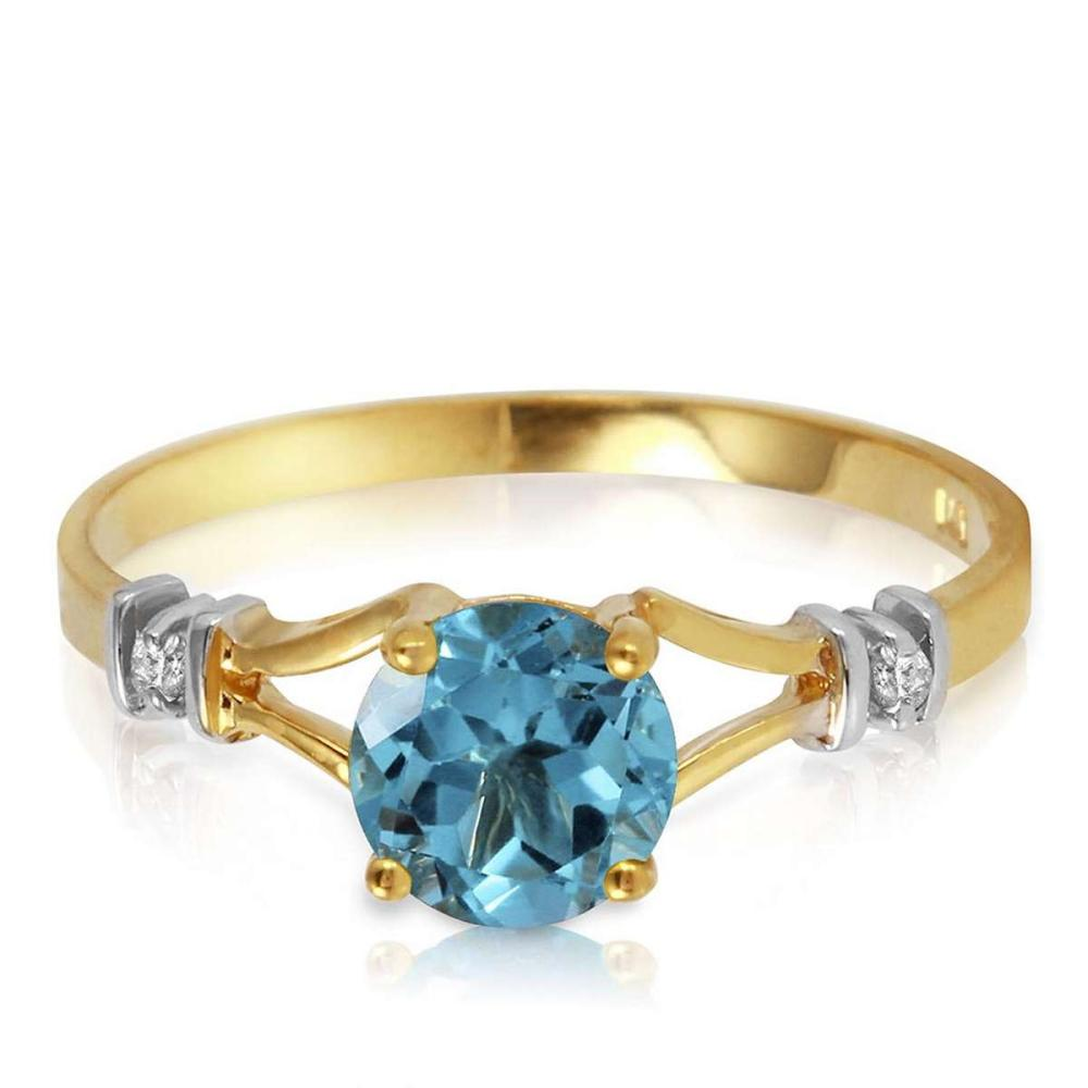 1.02 CTW 14K Solid Gold Loves Ingredient Blue Topaz Diamond Ring #1AC91516