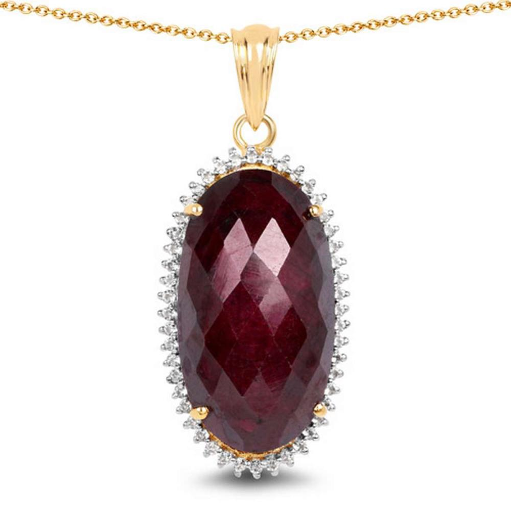14K Yellow Gold Plated 19.07 CTW Dyed Ruby and White Topaz .925 Sterling Silver Pendant #1AC28184
