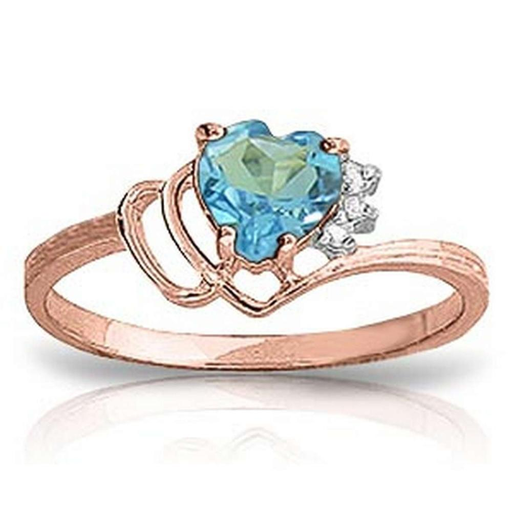 0.97 CTW 14K Solid Rose Gold Ring Natural Diamond Blue Topaz #1AC91368