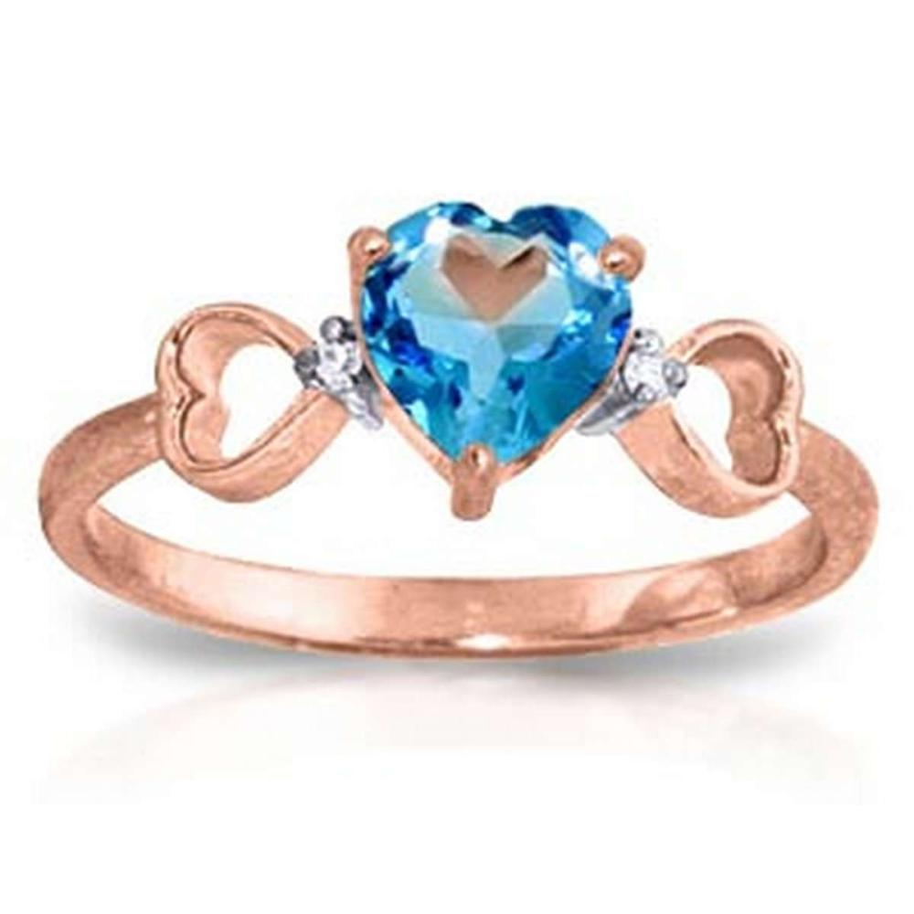 0.96 CTW 14K Solid Rose Gold Tri Heart Blue Topaz Diamond Ring #1AC91583