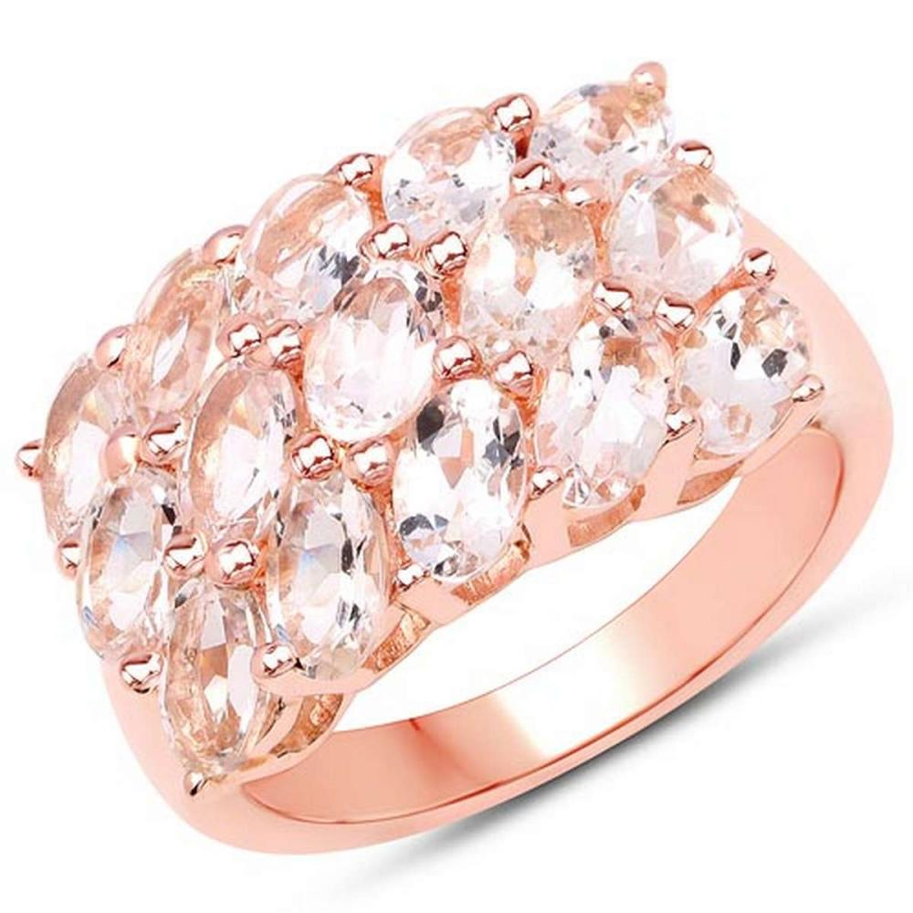 18K Rose Gold Plated 3.30 CTW Genuine Morganite .925 Sterling Silver Ring #1AC29187