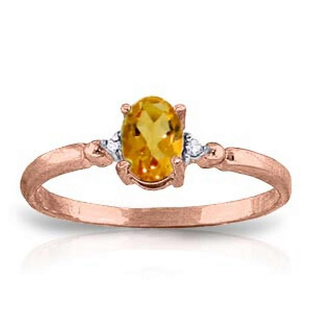 0.46 CTW 14K Solid Rose Gold Young Love Citrine Diamond Ring #1AC91595