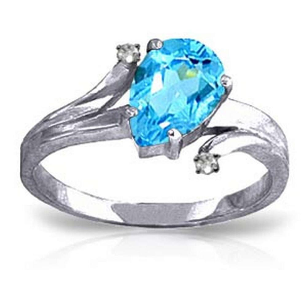1.51 CTW 14K Solid White Gold Only Hold You Blue Topaz Diamond Ring #1AC91581