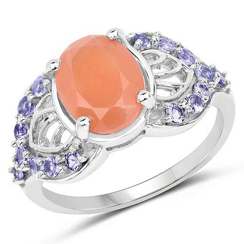3.06 CTW Genuine Peach Moonstone and Tanzanite .925 Sterling Silver Ring #1AC29241
