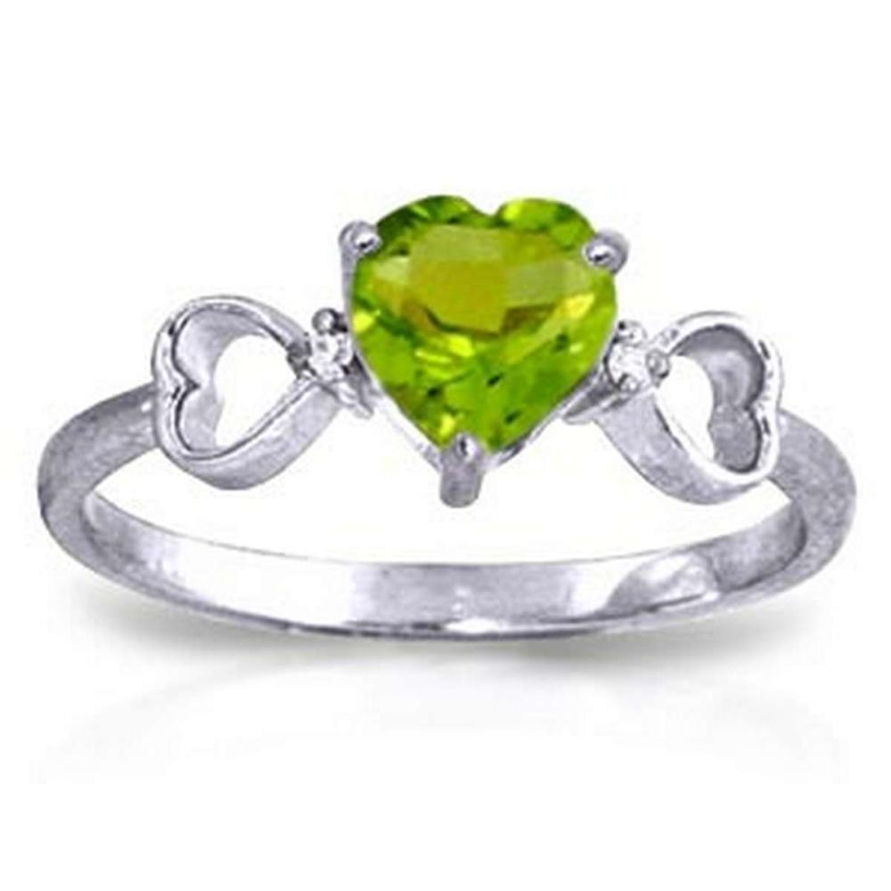 0.96 Carat 14K Solid White Gold Have The Stage Peridot Diamond Ring #1AC91590