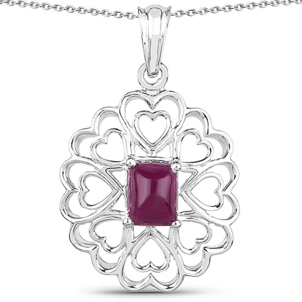 3.48 CTW Genuine Ruby .925 Sterling Silver Pendant #1AC28158