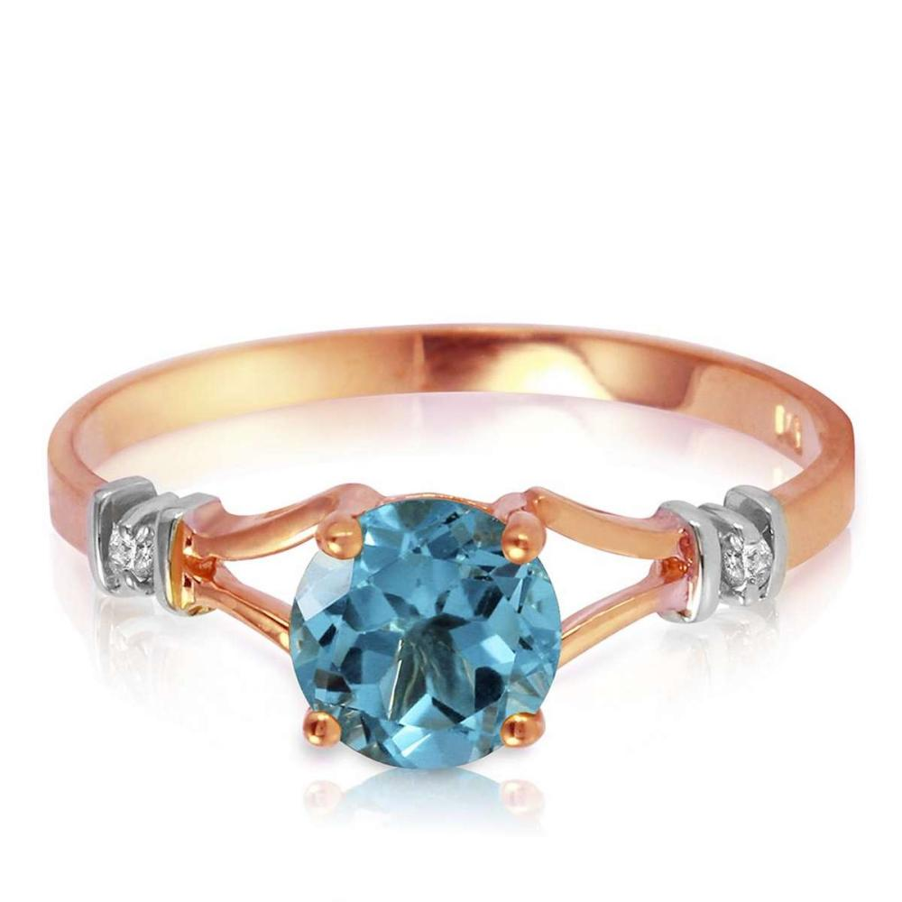 1.02 Carat 14K Solid Rose Gold Cathy Blue Topaz Diamond Ring #1AC91514