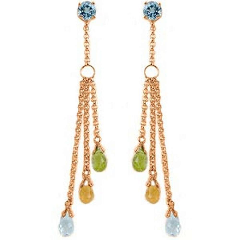 14K Solid Rose Gold Chandelier Earrings with Blue Topaz Citrines & Peridots #1AC91496