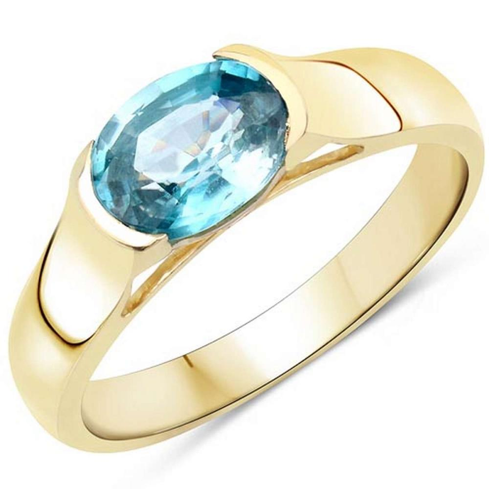 14K Yellow Gold Plated 2.00 CTW Genuine Blue Zircon .925 Sterling Silver Ring #1AC29227
