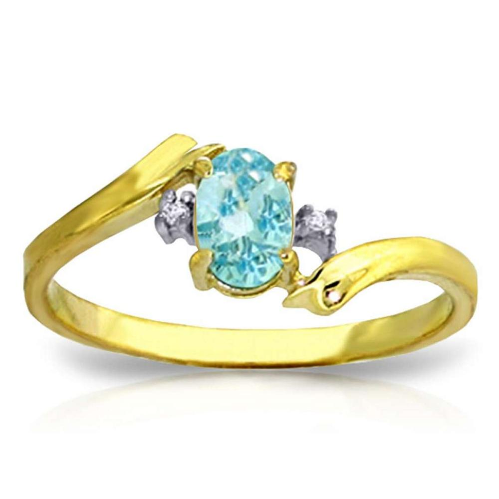 0.46 Carat 14K Solid Gold Rings Natural Diamond Blue Topaz #1AC91570