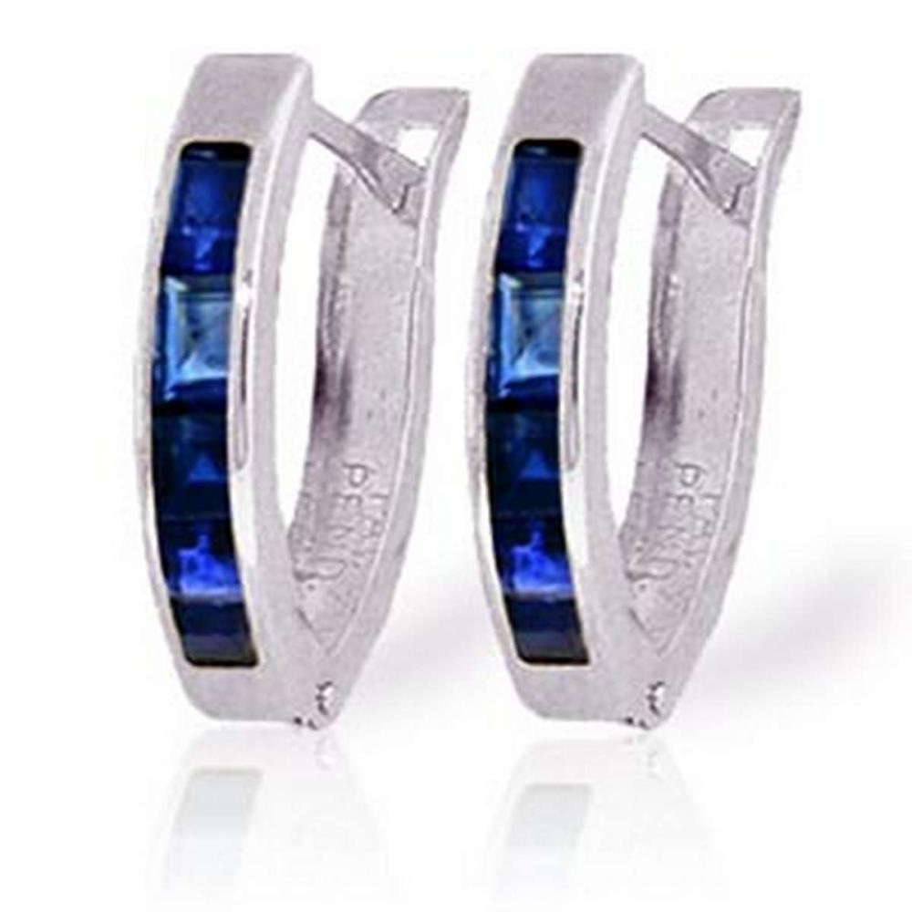 1.3 Carat 14K Solid White Gold Oval Huggie Earrings Sapphire #1AC91417