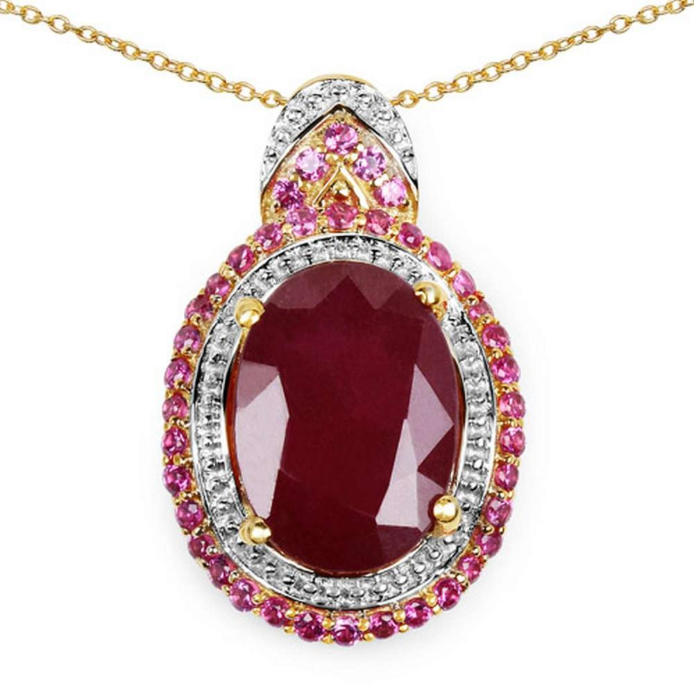14K Yellow Gold Plated 8.87 CTW Glass Filled Ruby and Ruby .925 Sterling Silver Pendant #1AC28183