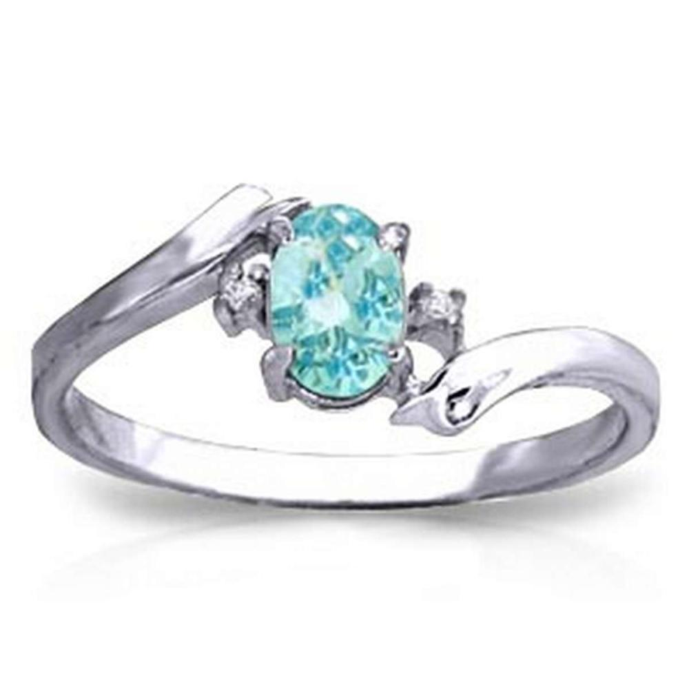 0.46 CTW 14K Solid White Gold Rings Natural Diamond Blue Topaz #1AC91569
