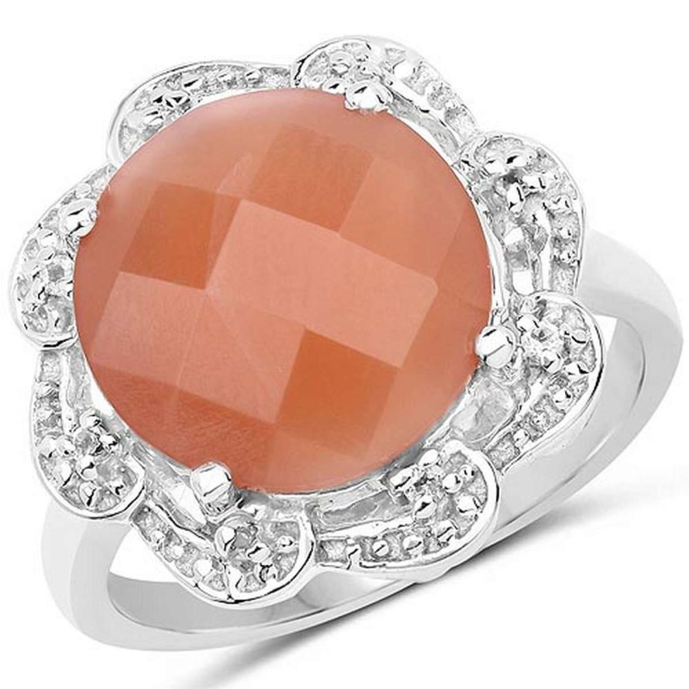 5.68 CTW Genuine Peach Moonstone and White Topaz .925 Sterling Silver Ring #1AC29243