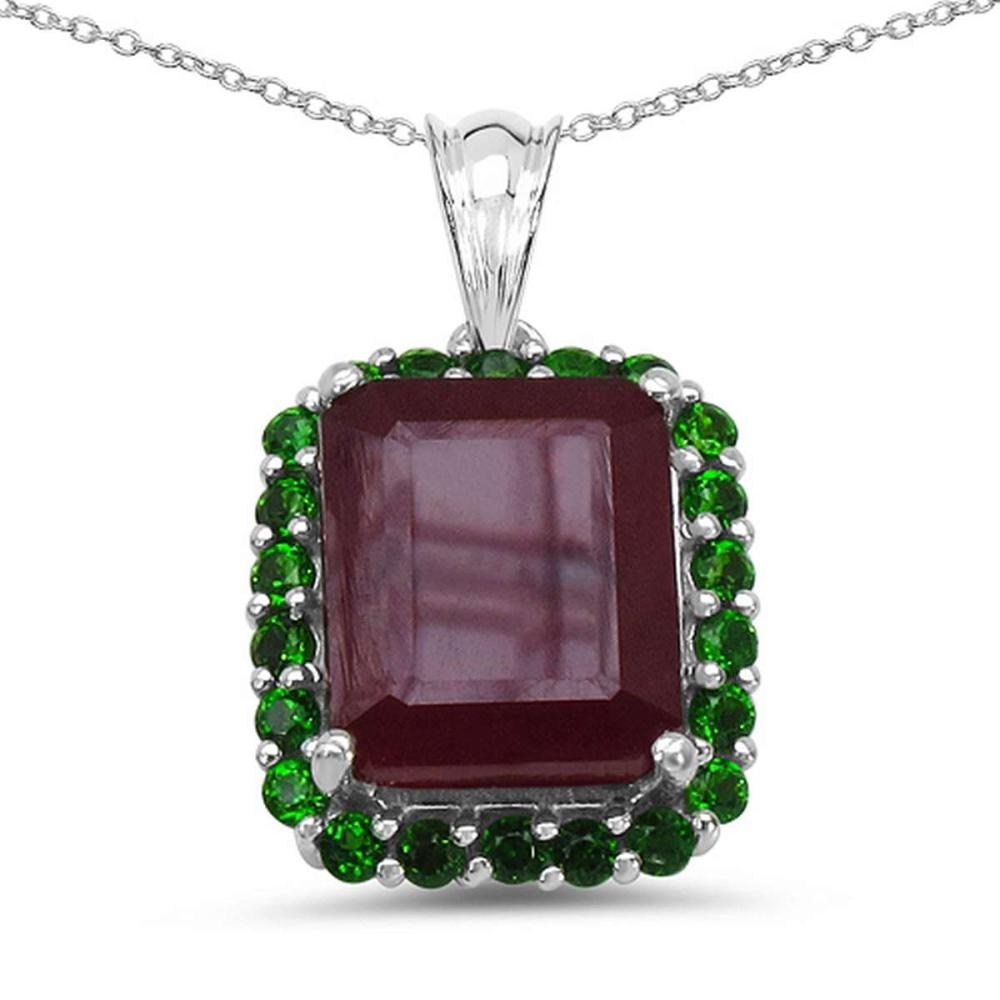 8.00 CTW Genuine Ruby & Chrome Diopside .925 Sterling Silver Pendant #1AC28186