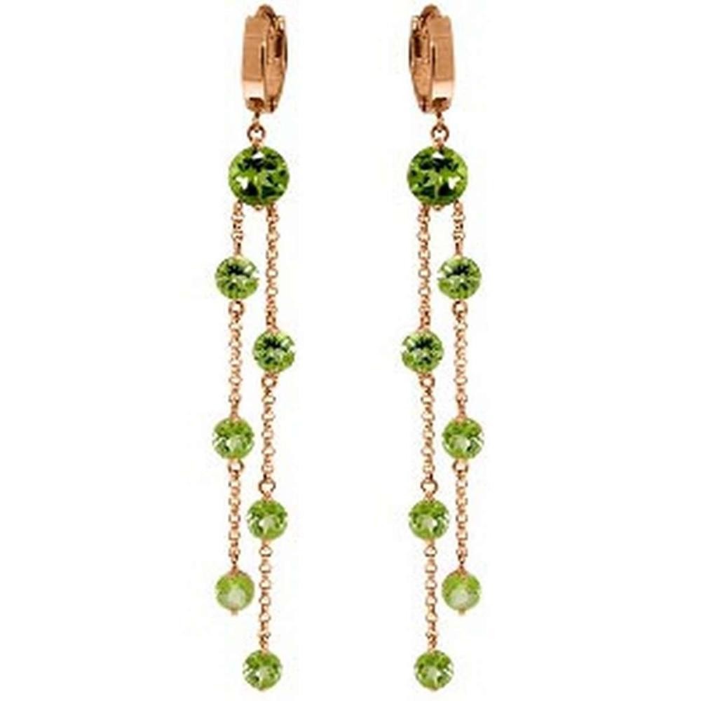 14K Solid Rose Gold Chandelier Earrings with Peridots #1AC91538