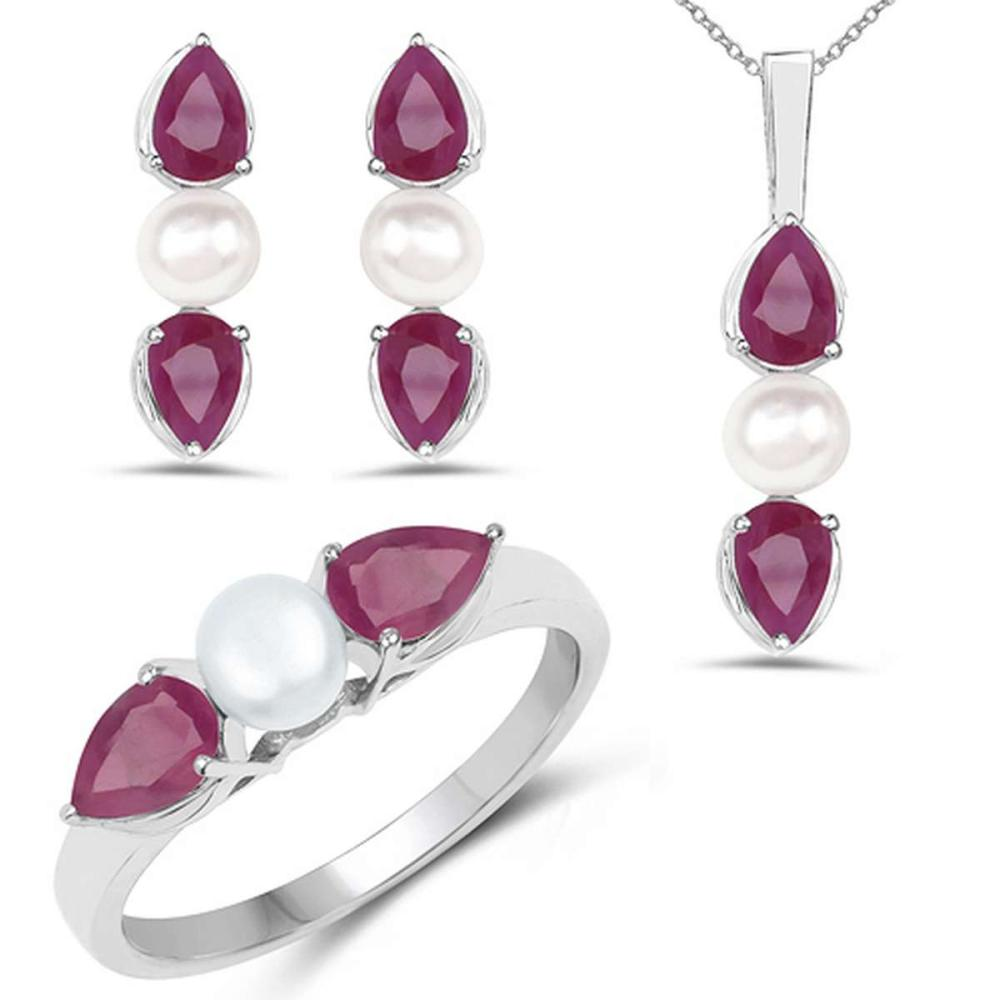 5.60 CTW Genuine Ruby and Pearl .925 Sterling Silver Ring Pendant & Earrings Set #1AC28160