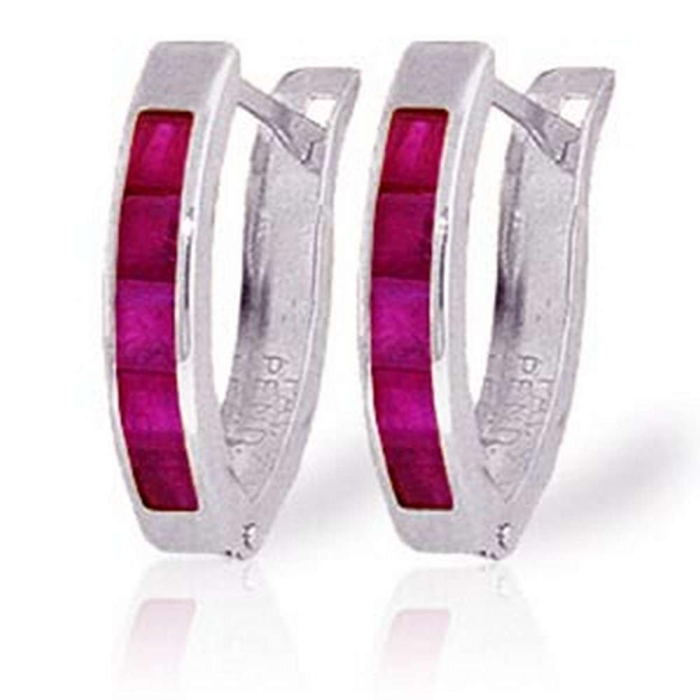 1.3 Carat 14K Solid White Gold Oval Huggie Earrings Ruby #1AC91411
