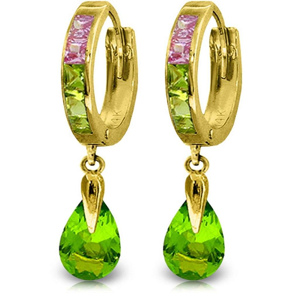 5.68 CTW 14K Solid Gold Green Act Cubic Zirconia Earrings #1AC91492