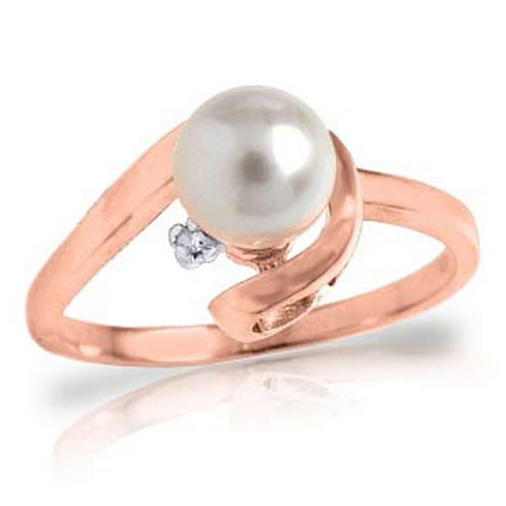 1.01 Carat 14K Solid Rose Gold Ring Natural Diamond pearl #1AC91499