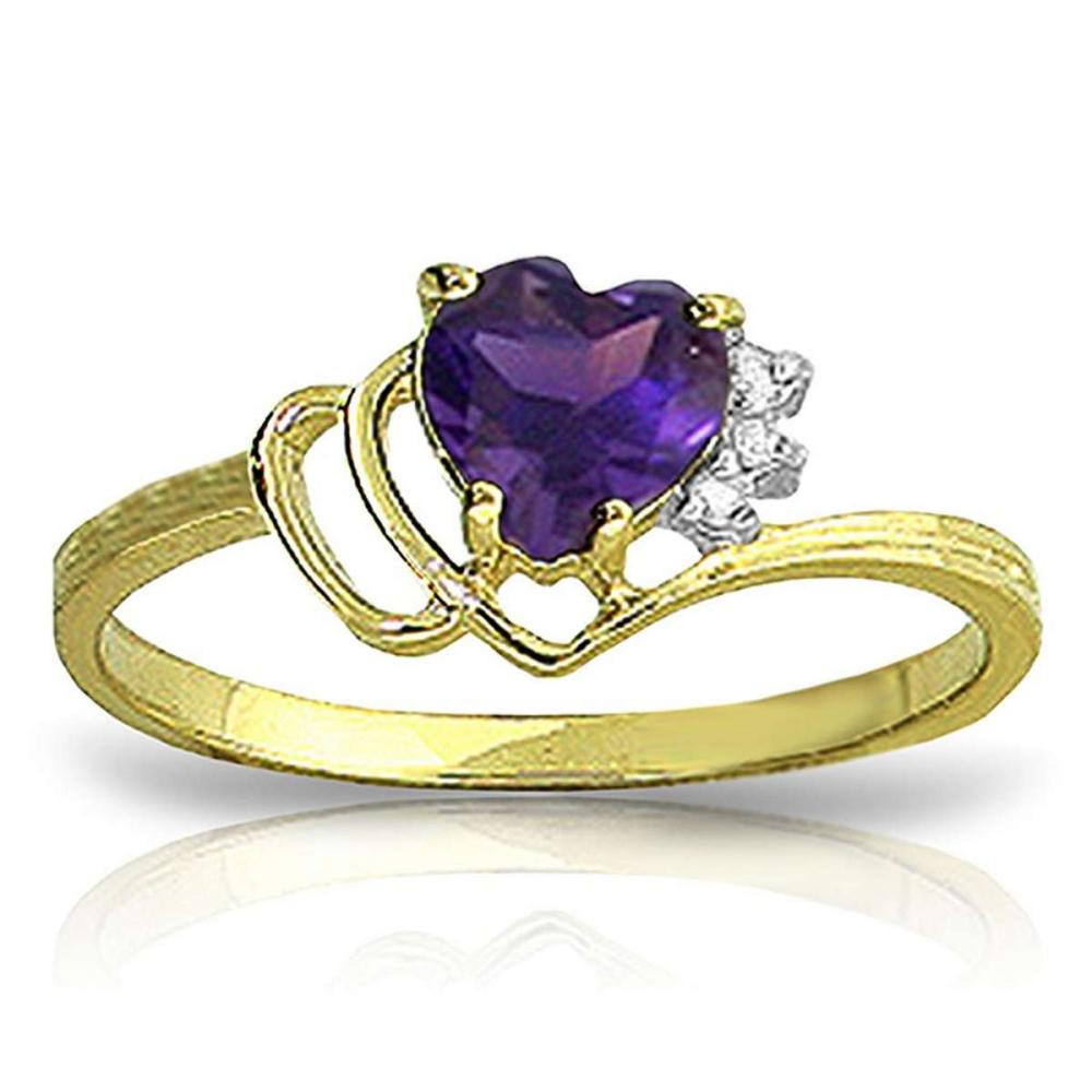 0.97 CTW 14K Solid Gold Ring Natural Diamond Purple Amethyst #1AC91373