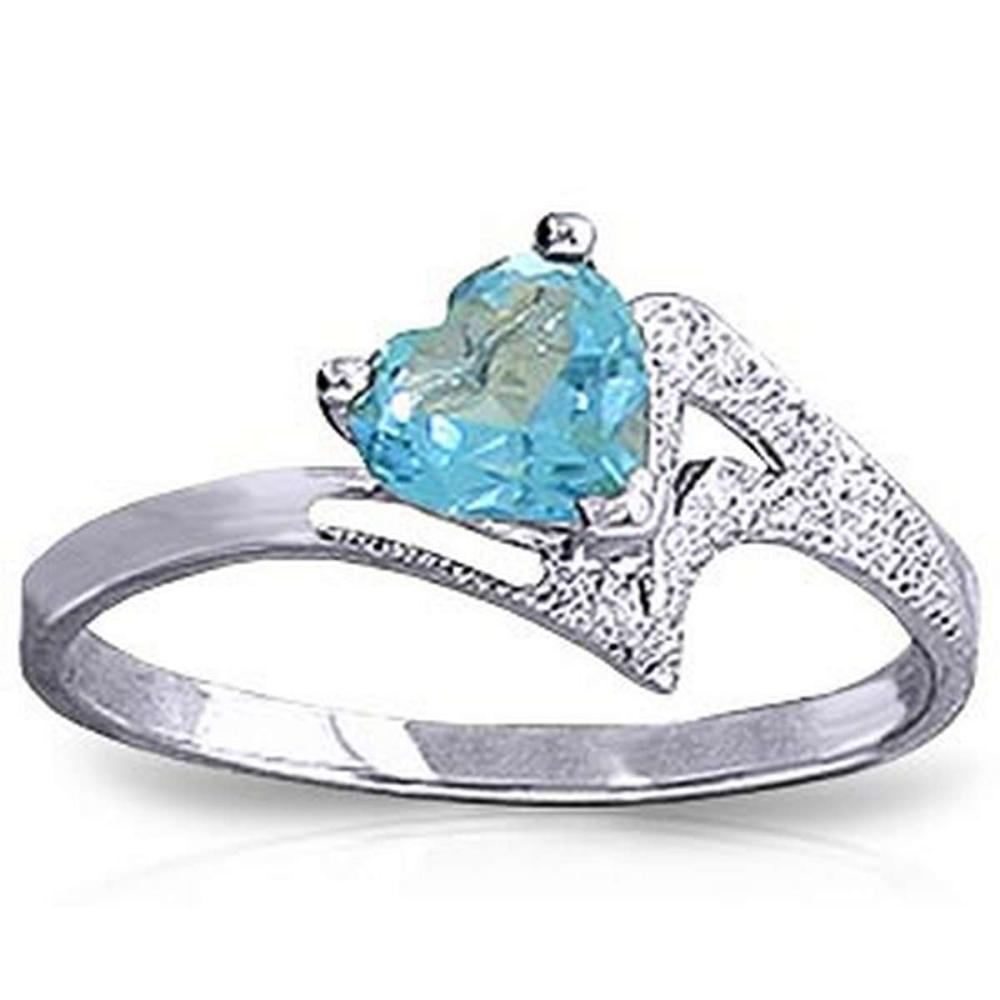 0.95 Carat 14K Solid White Gold Ring Natural Blue Topaz #1AC91363