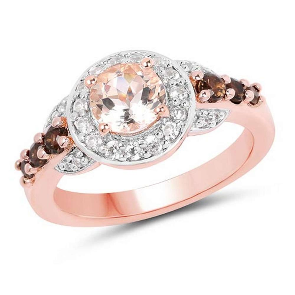 18K Rose Gold Plated 1.49 CTW Genuine Morganite Smoky Quartz and White Zircon .925 Sterling Silver Ring #1AC29161