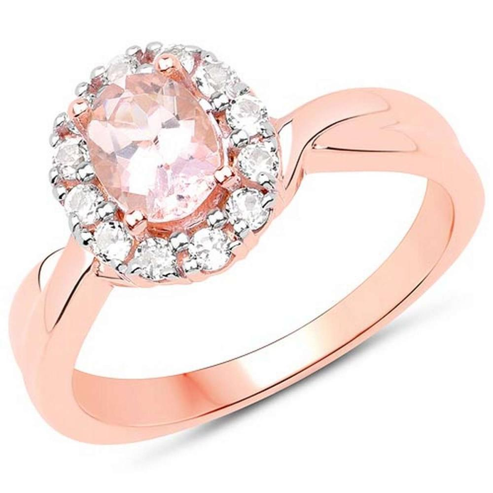 14K Rose Gold Plated 1.08 CTW Genuine Morganite and White Topaz .925 Sterling Silver Ring #1AC29164