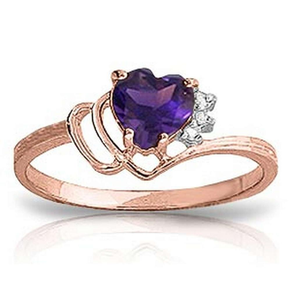 0.97 CTW 14K Solid Rose Gold Ring Natural Diamond Purple Amethyst #1AC91371