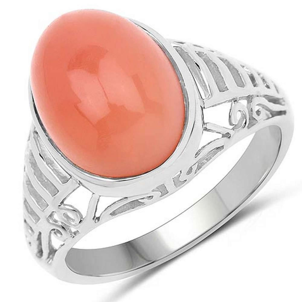 6.00 CTW Genuine Peach Moonstone .925 Sterling Silver Ring #1AC29234
