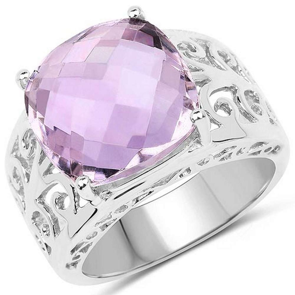 6.28 CTW Genuine Pink Amethyst .925 Sterling Silver Ring #1AC29250