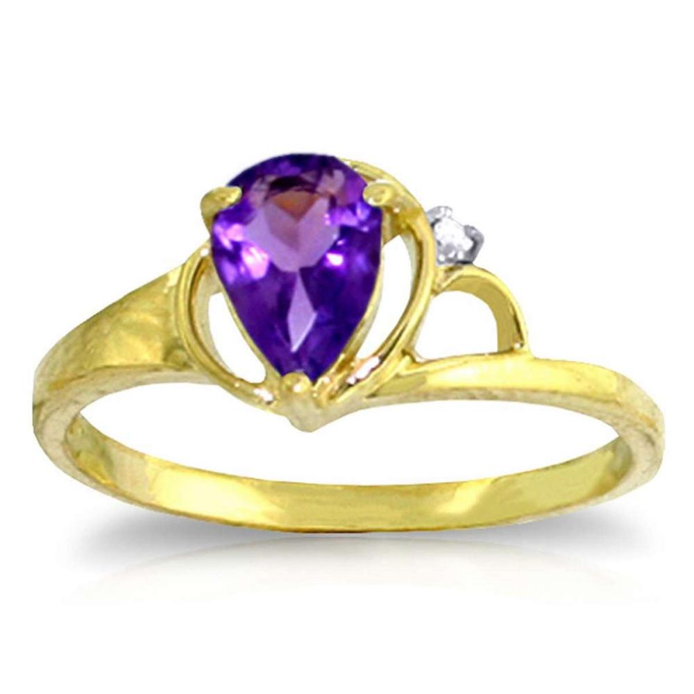 0.66 Carat 14K Solid Gold Home And Away Amethyst Diamond Ring #1AC91579