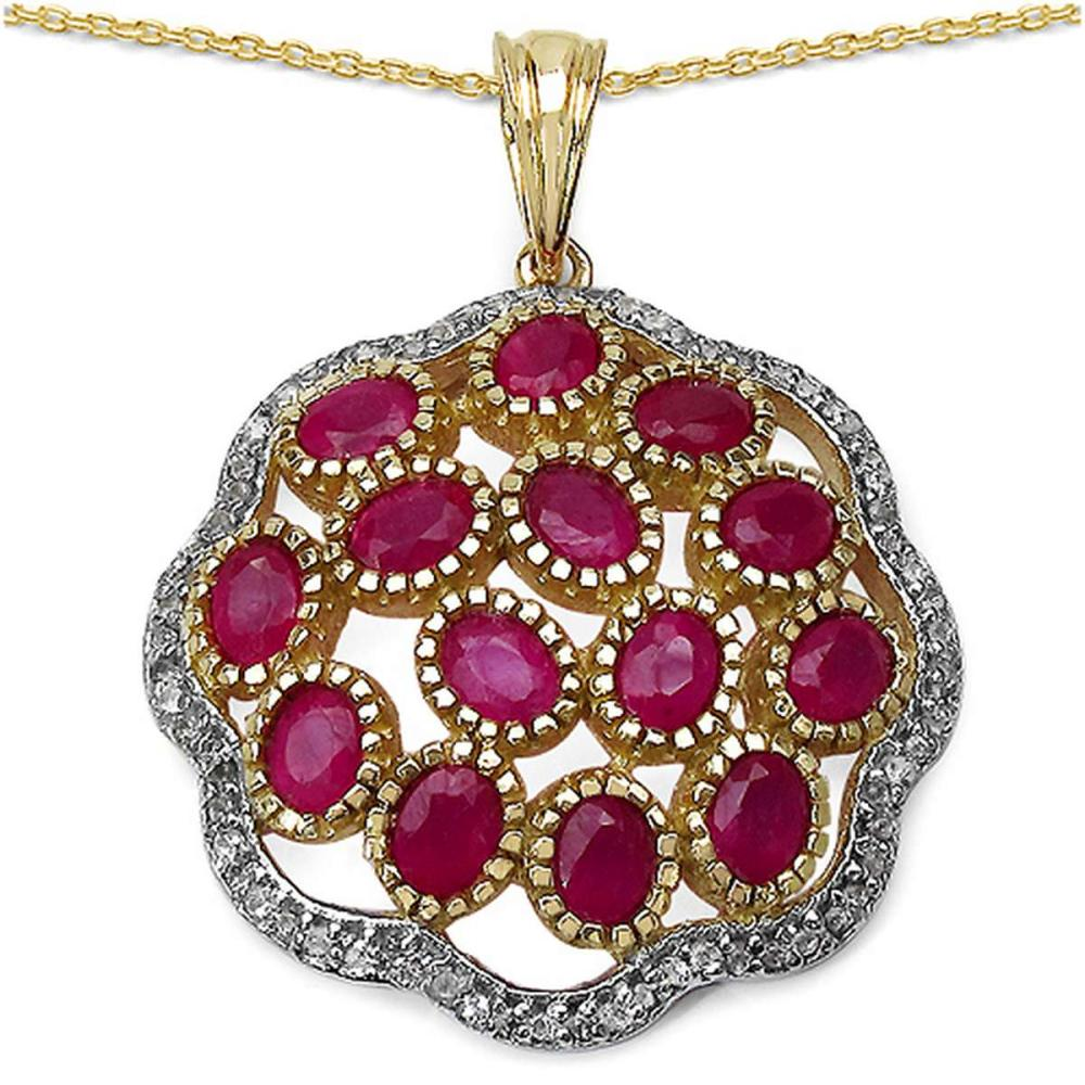 14K Yellow Gold Plated 4.00 CTW Genuine Ruby & White Topaz .925 Streling Silver Pendant #1AC28164