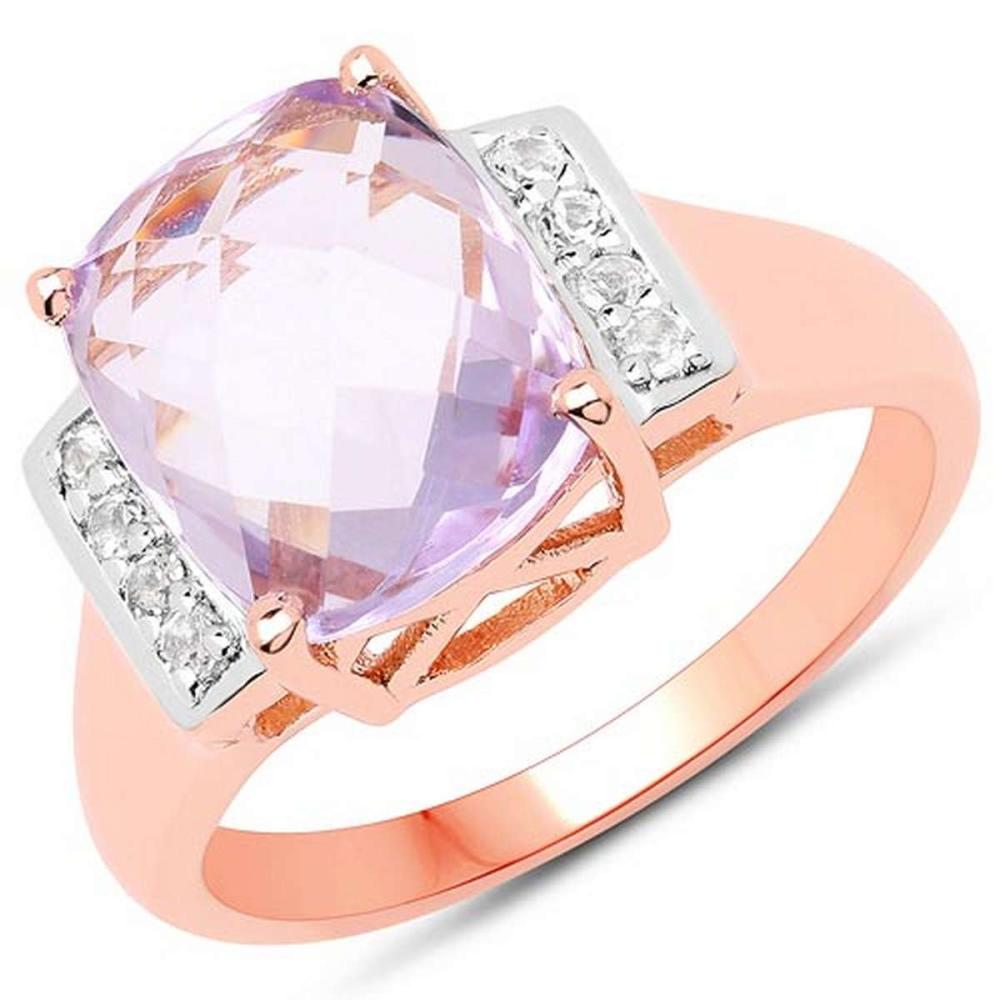 14K Rose Gold Plated 3.88 CTW Genuine Pink Amethyst and White Topaz .925 Sterling Silver Ring #1AC29248