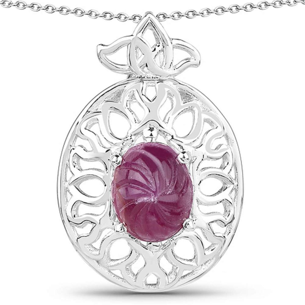 3.90 CTW Genuine Ruby .925 Sterling Silver Pendant #1AC28178