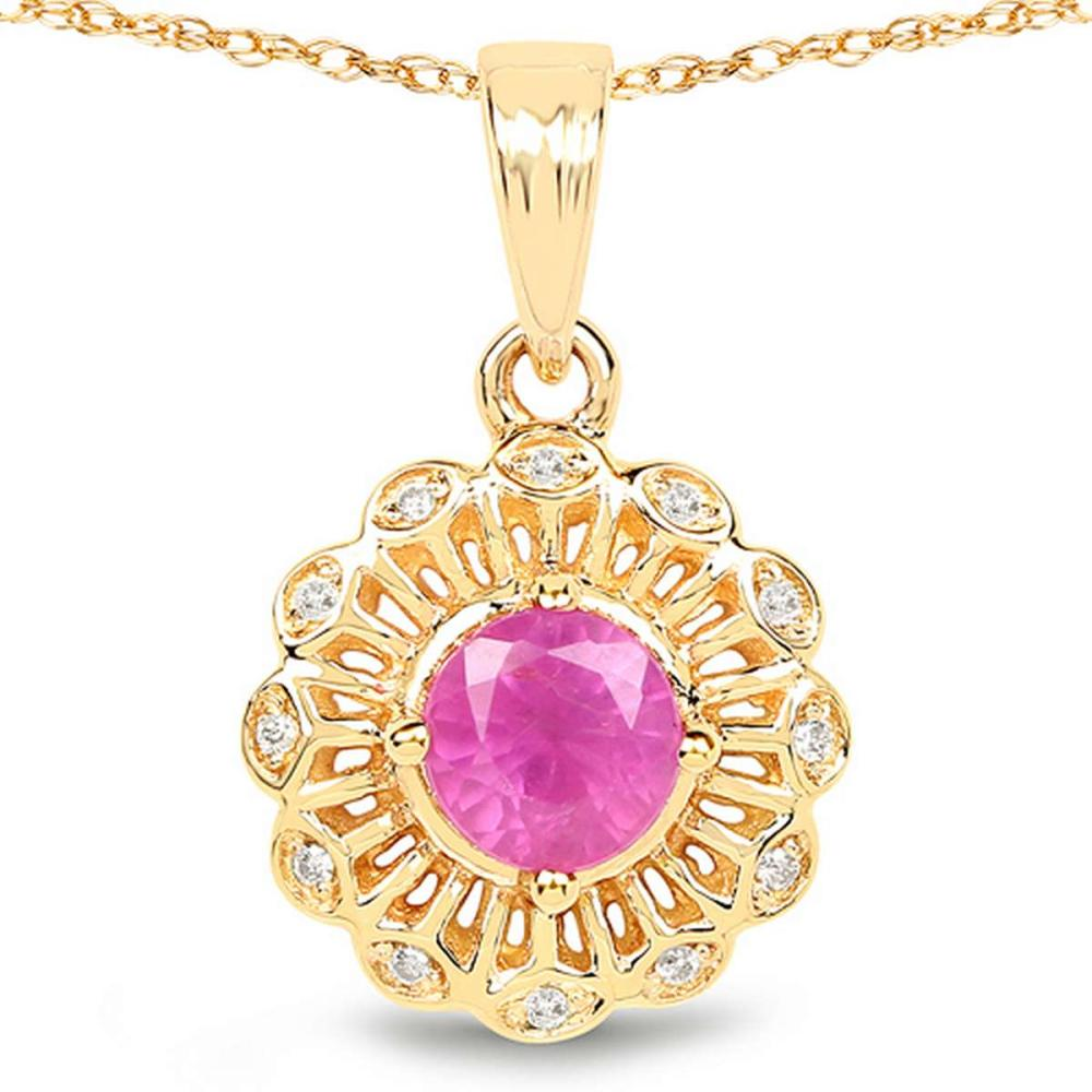 0.59 CTW Genuine Ruby and White Diamond 14K Yellow Gold Pendant #1AC28176