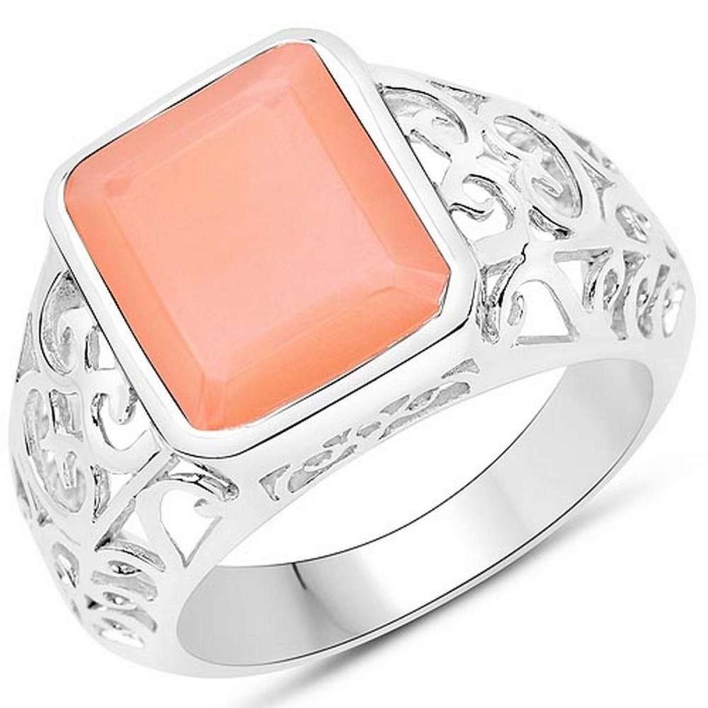 5.75 CTW Genuine Peach Moonstone .925 Sterling Silver Ring #1AC29235