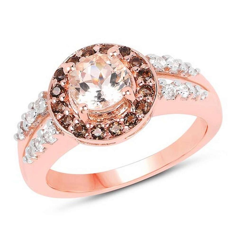 18K Rose Gold Plated 1.46 CTW Genuine Morganite Smoky Quartz and White Zircon .925 Sterling Silver Ring #1AC29160