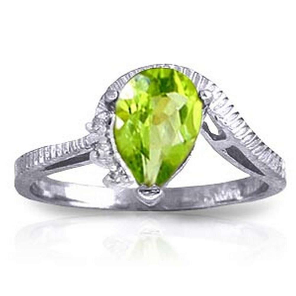 1.52 Carat 14K Solid White Gold Outstretched Hand Peridot Diamond Ring #1AC91566