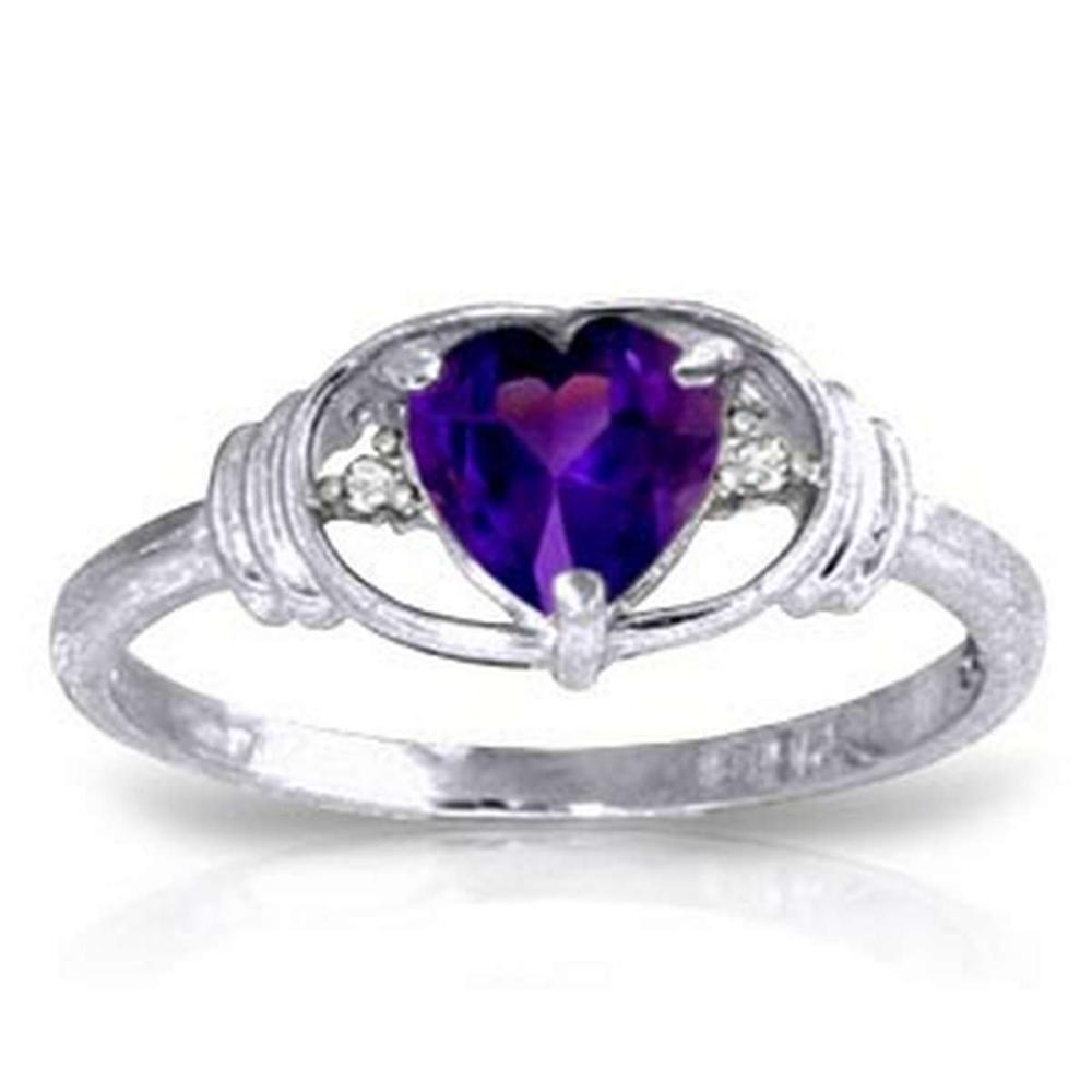0.96 Carat 14K Solid White Gold First Let Go Amethyst Diamond Ring #1AC91554
