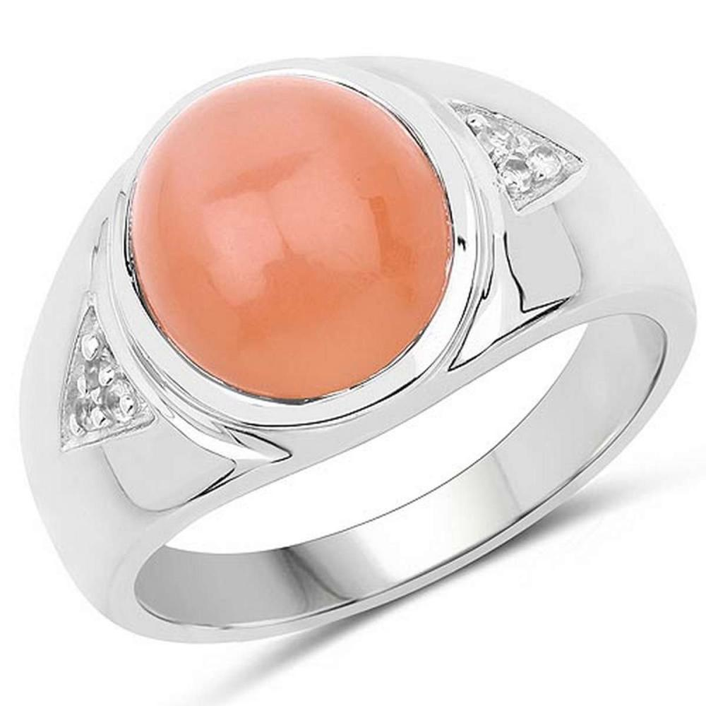 6.59 CTW Genuine Peach Moonstone and White Topaz .925 Sterling Silver Ring #1AC29244