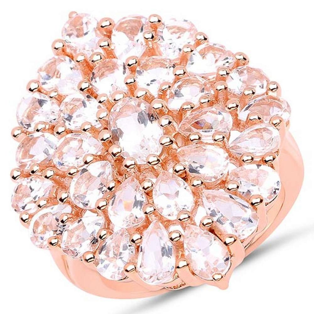 14K Rose Gold Plated 4.55 CTW Genuine Morganite .925 Sterling Silver Ring #1AC29185