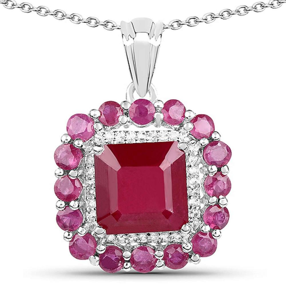 8.48 CTW Glass Filled Ruby and White Topaz .925 Sterling Silver Pendant #1AC28173