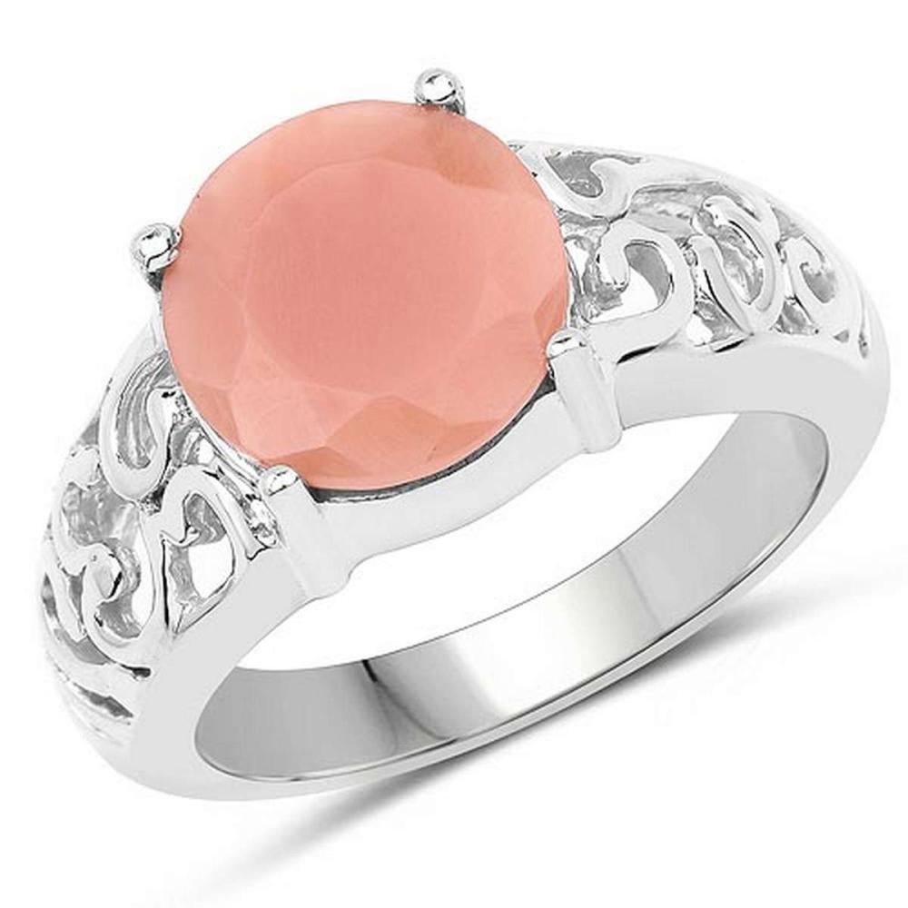 3.30 CTW Genuine Peach Moonstone .925 Sterling Silver Ring #1AC29236