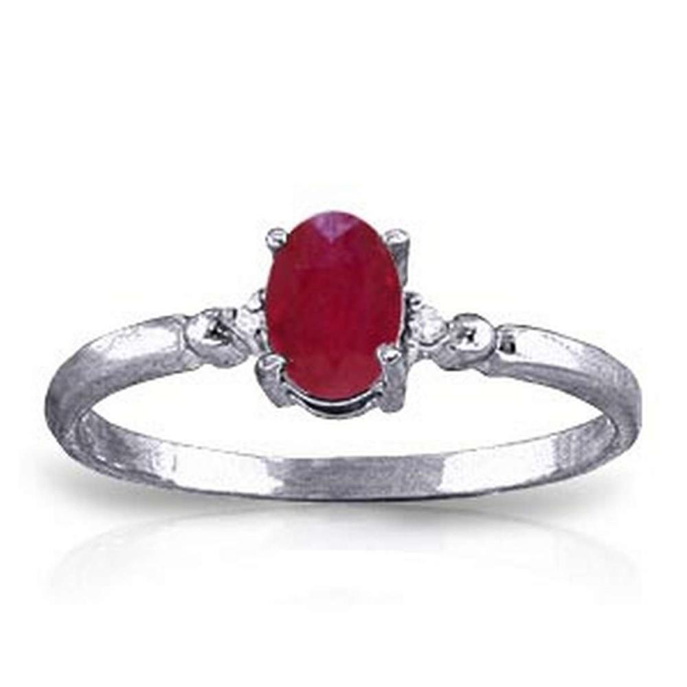 0.51 Carat 14K Solid White Gold Ring Natural Diamond Ruby #1AC91599
