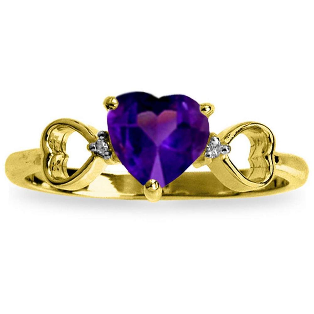 0.96 CTW 14K Solid Gold Color Me Purple Amethyst Diamond Ring #1AC91588