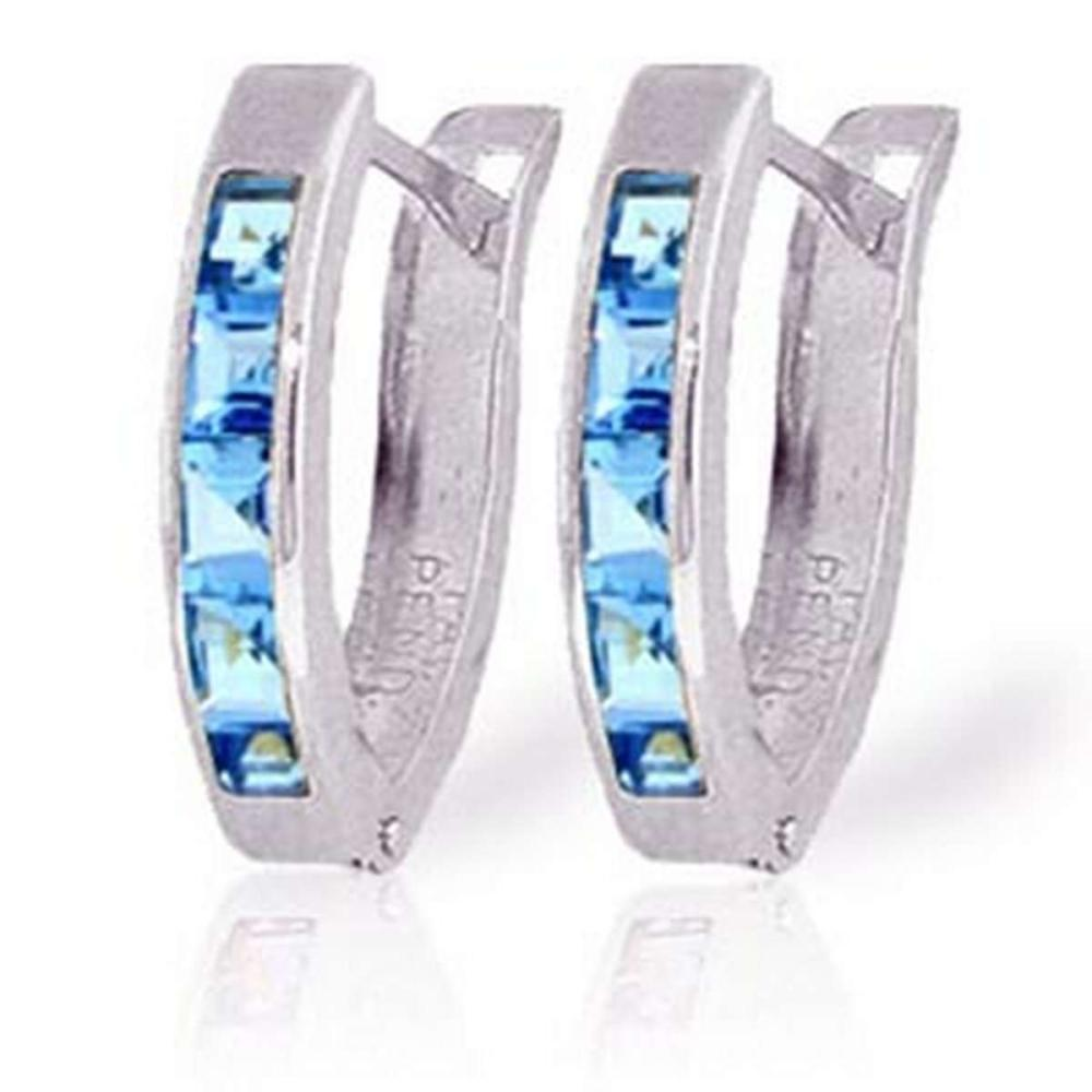 1.2 CTW 14K Solid White Gold Oval Huggie Earrings Blue Topaz #1AC91393