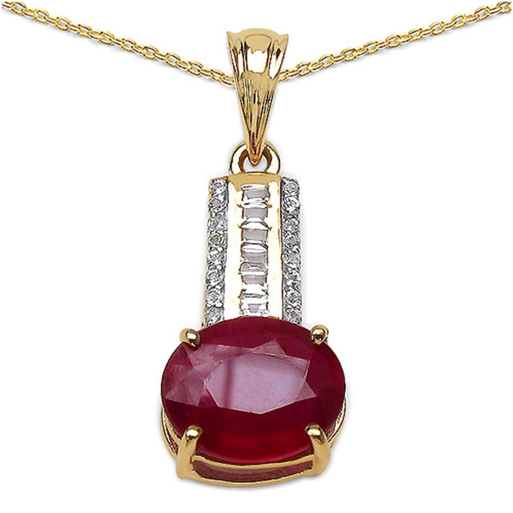 14K Yellow Gold Plated 4.40 CTW Genuine Ruby & White Topaz .925 Streling Silver Pendant #1AC28166