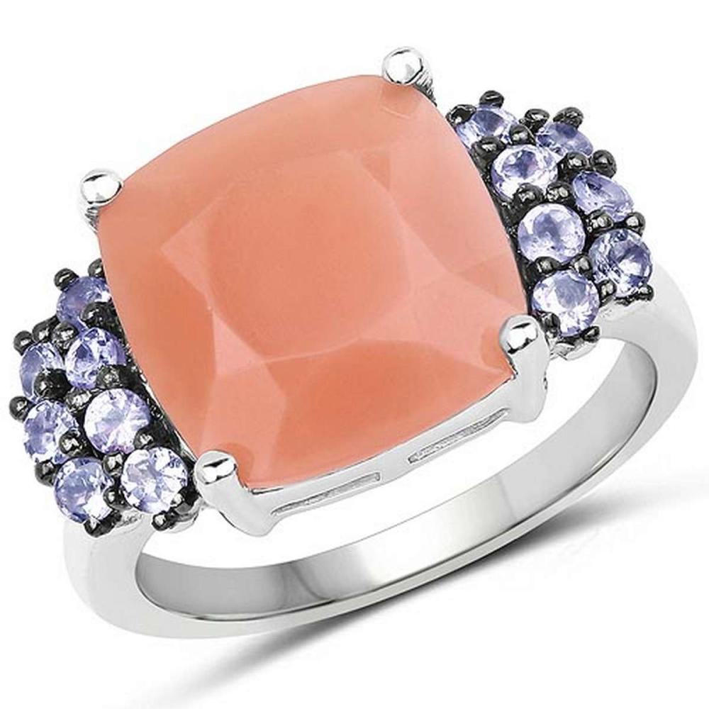 6.18 CTW Genuine Peach Moonstone and Tanzanite .925 Sterling Silver Ring #1AC29242