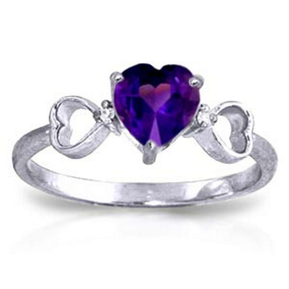 0.96 Carat 14K Solid White Gold Same Old Song Amethyst Diamond Ring #1AC91587